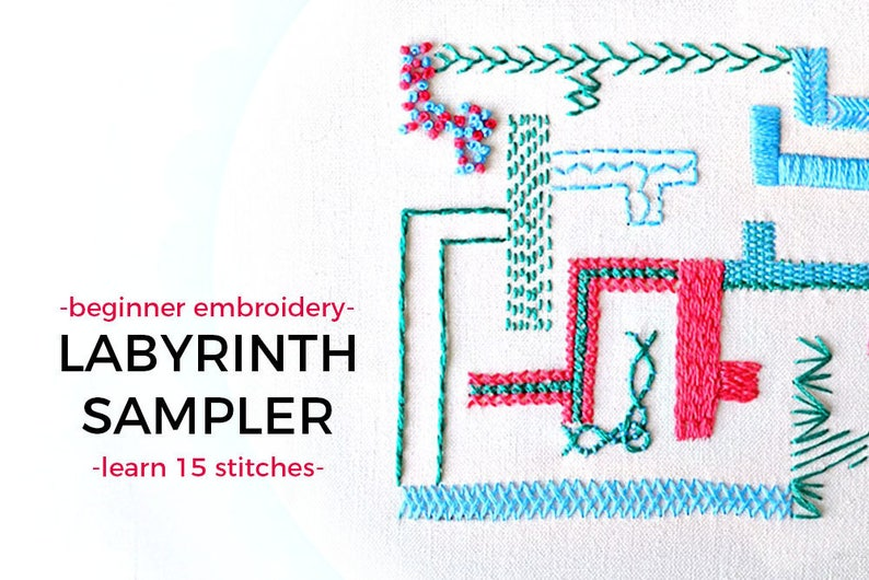beginner embroidery sampler book, learn 15 hand embroidery stitches,  embroidery labyrinth, embroidery ebook, modern embroidery