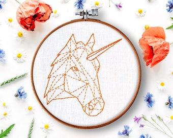 unicorn hand embroidery pattern, diy hoop art, beginner embroidery, geometric embroidery pattern, contemporary embroidery, stitch work