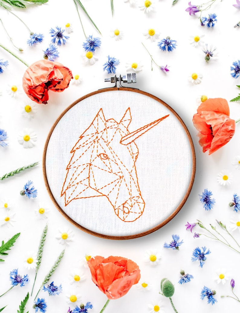 unicorn hand embroidery pattern, diy hoop art, beginner embroidery,  geometric embroidery pattern, contemporary embroidery, stitch work