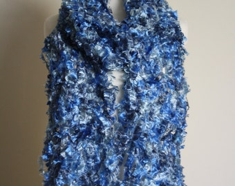Blue sewn (crazy wool technique) scarf FREE UK SHIPPING!