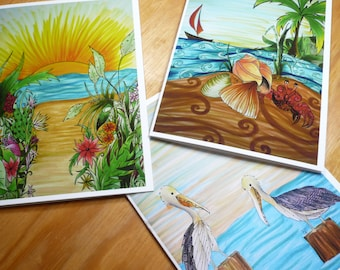 Beach card set, 3 greeting cards with envelopes, blank inside, tropical beach themes, sunrise, crab, pelicans