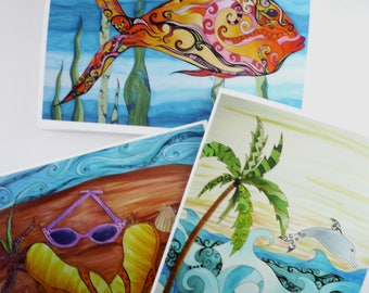 Beach card set, 3 greeting cards with envelopes, blank inside, tropical beach themes, Orange fish, Dolphin beach, flip flops and sunglasses