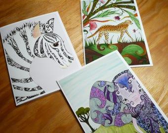 Jungle animal card set, 3 greeting cards with envelopes, blank inside, safari animals, zebra, cheetah, elephant