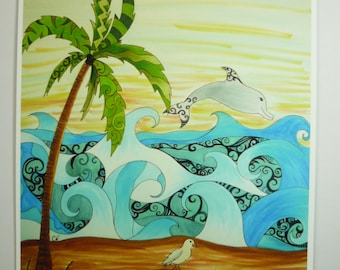 Colorful art print. Beach, seagull, and dolphin