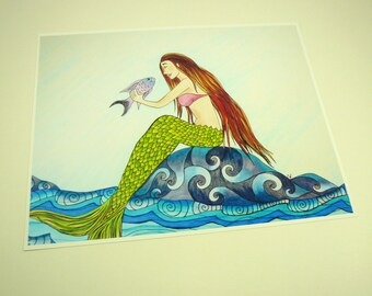 Mermaid art print, colorful fantasy art print 8x10 mermaid with fish, sea art