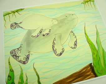 """art print, Colorful manatee art print, mom and baby manatees with abstract details  8x10"""" print"""