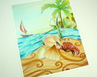 Colorful art print. Beach, sailboat, shells, and crab