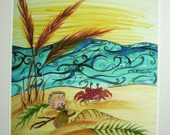 Colorful art print. Beach, sea oats, shells, and crab
