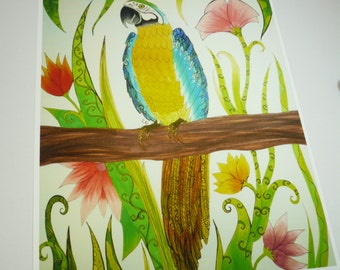 Colorful art print. Blue and yellow Macaw on branch with flowers