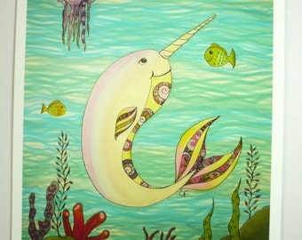 """Whale art print. Narwhal whale art print, 8x10"""" ink jet print,colorful narwhal in the sea, great for kids room"""