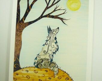 "Colorful art print. Fox art, 8x10"" ink jet print, gray fox with moon"