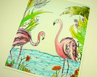 """art print, Colorful flamingo art print, Pink flamingos in paradise with abstract details  8x10"""" print"""