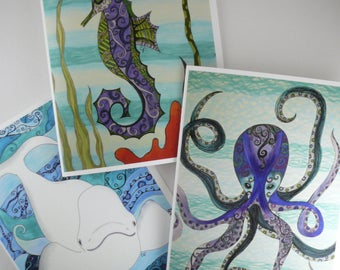 Sea animals card set, 3 greeting cards with envelopes, blank inside, Sea creature theme, Beluga whale, Seahorse, Octopus