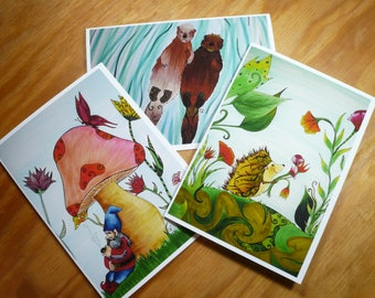 Whimsical art card set, 3 greeting cards with envelopes, blank inside, Sea Otters, Gnome and mushroom, Hedge hog