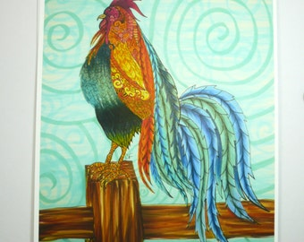 Colorful art print. rooster on fence