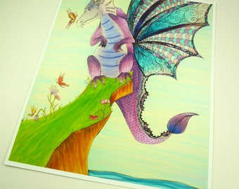 Dragon art print, colorful fantasy art print 8x10 purple dragon with butterfly and flowers