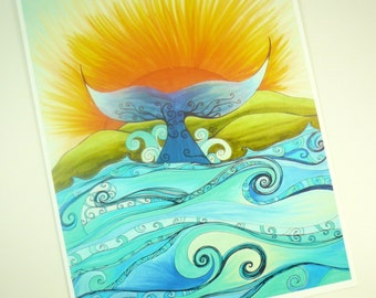 Colorful art print. ocean, whale tail, and sunshine