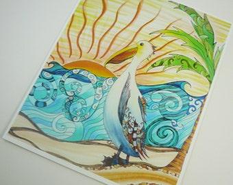 Colorful art print. Beach, pelican and sunshine