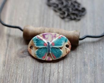 Pottery connector flower boho  link bracelet  gypsy jewelry boho earthy  ceramic bead