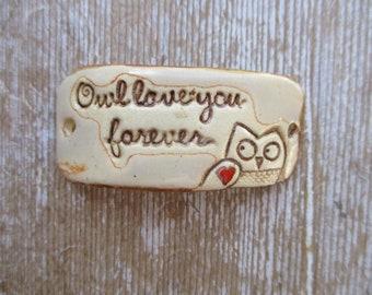 owl love you forever   ceramic bracelet bar  red heart tatoo cuff