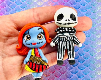 CLAYS: Jack & Sally bow center, clay dolls, biscuit dolls, clay center for the hairbows, bows with apliques , bow centerpiece, Halloween