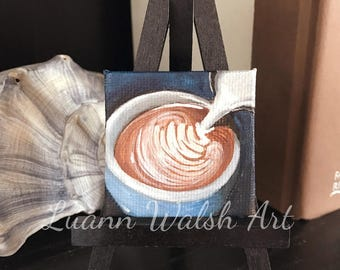 Coffee latte painting - miniature latte art - original acrylic painting by Luann Walsh - 2x2""