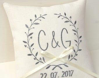 Ivory Ring pillow wedding ring bearer pillow wedding day pillow personalized ring pillow monogram pillow linen wedding pillow