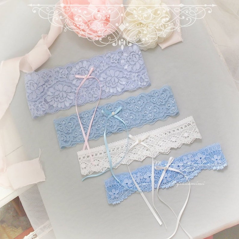 Bridal Bride Garter Lace Bows White Something Blue One size Stretch 3 Colours