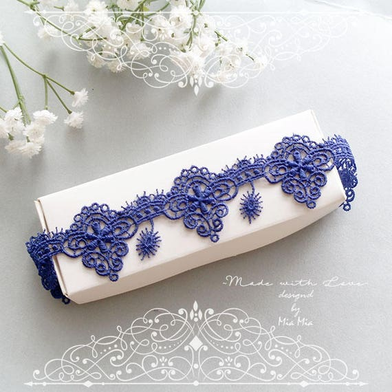 Items Similar To Navy Blue Lace Garter, Something Blue