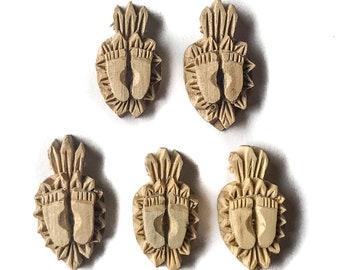 Lotus Feet of Krishna (5 pcs) Tulasi Handcarved Vrindavan Tulsi Pendant Five