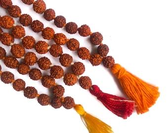 Rudraksha Seed Bead Japa Chanting Meditation Mala 108+1 Traditional Red Shiva Tears Necklace Shaivism Rudra