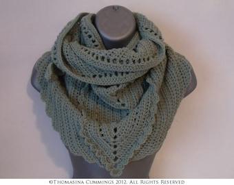 Crochet Kerchief Style Triangular Shaped Shawl -  INSTANT DOWNLOAD PDF from Thomasina Cummings Designs