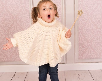 Crochet Roll Neck Poncho (for children and adults) - INSTANT DOWNLOAD PDF from Thomasina Cummings Designs