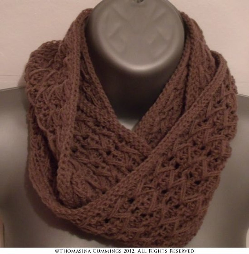 Crochet Cowl Infinite Scarf INSTANT DOWNLOAD PDF from image 0