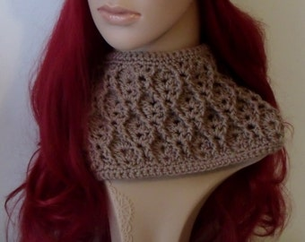 Crochet Cowl - Cable and Eyelet Design - INSTANT DOWNLOAD PDF from Thomasina Cummings Designs