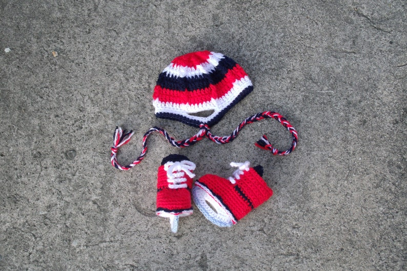 Crochet Ice Skates & Sports Helmet Set  INSTANT DOWNLOAD PDF image 0