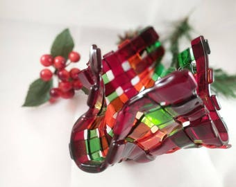 Fused Glass Candle holder - OOAK - Christmas hostess holiday gift