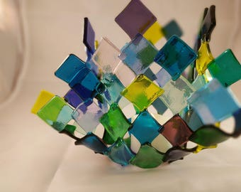Fused Glass Candle holder - OOAK - hostess holiday gift