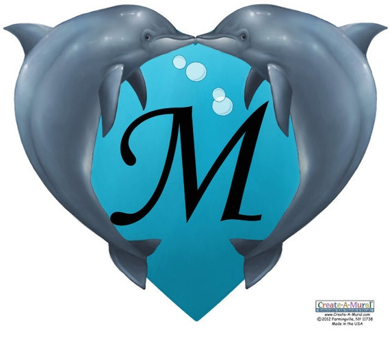 Dolphin Heart Shapped Name Frame With Customized Initial