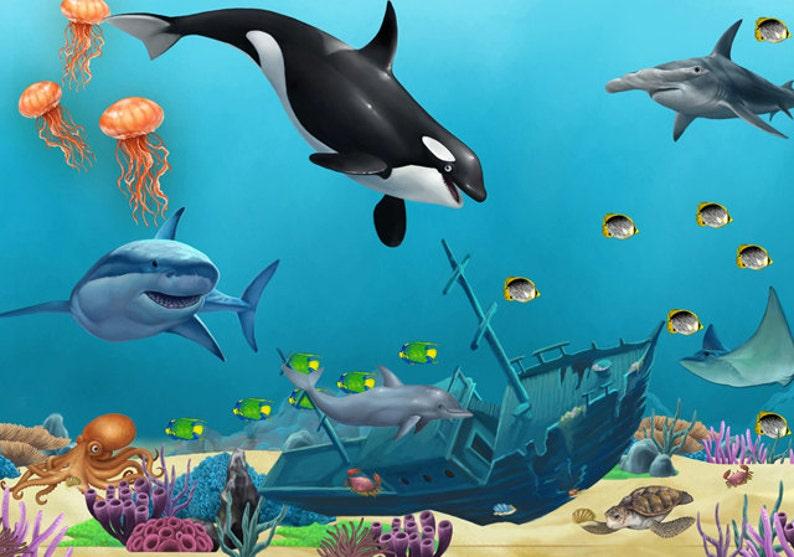 Bajo El Mar Naufragio Y Mural De Pared Animales Etsy