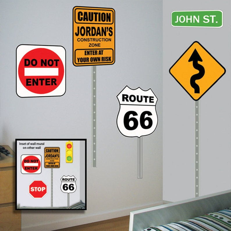 Street Sign Mural Decals Custom Road Sign Wall Decals Etsy
