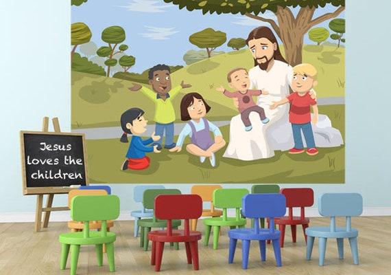 Jesus Love The Kids Church Wall Mural Children S Etsy