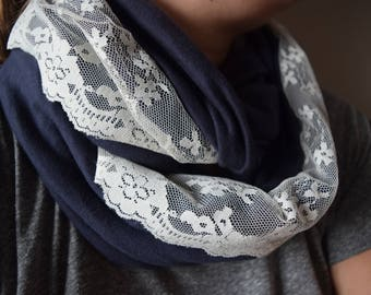 Dark Navy Blue Jersey Infinity Scarf with Cream Lace - Soft circle cowl scarf