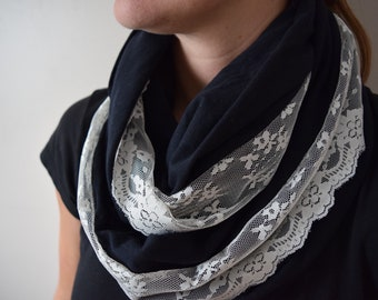 Soft Black with Lace Infinity Scarf - Lace Accent Thick Jersey Cowl Circle Scarf