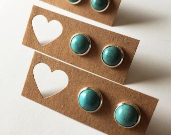 Mini Turquoise Stud Earrings - Turquoise Stud Earrings - Turquoise Earrings - Silver Turquoise Earrings - Luxie Creations Earrings