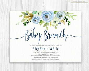 Printable baby shower invitations signs and games by ceremoniaglam boy floral baby shower invitation brunch for baby boy invitation baby boy invites boho baby shower navy blue and green floral invitation filmwisefo