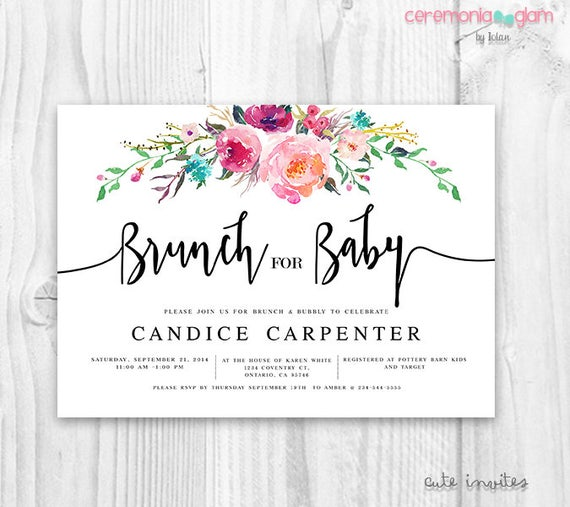 Boho Floral Baby Shower Invitation Girl Brunch Invitation
