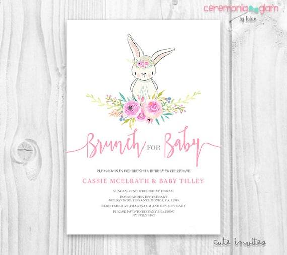 Bunny Baby Shower Invitation Girl Floral Cute Bunny Baby Etsy
