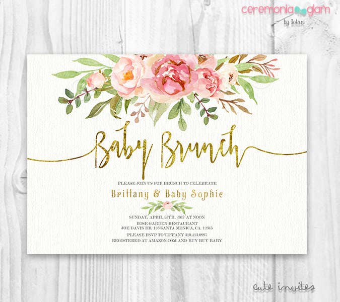 floral baby shower invitation girl baby brunch pink and etsy