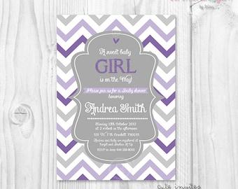 Lavender Baby shower girl invitation, chevron lavender and grey baby shower girl invitation, purple and grey baby shower girl invitation